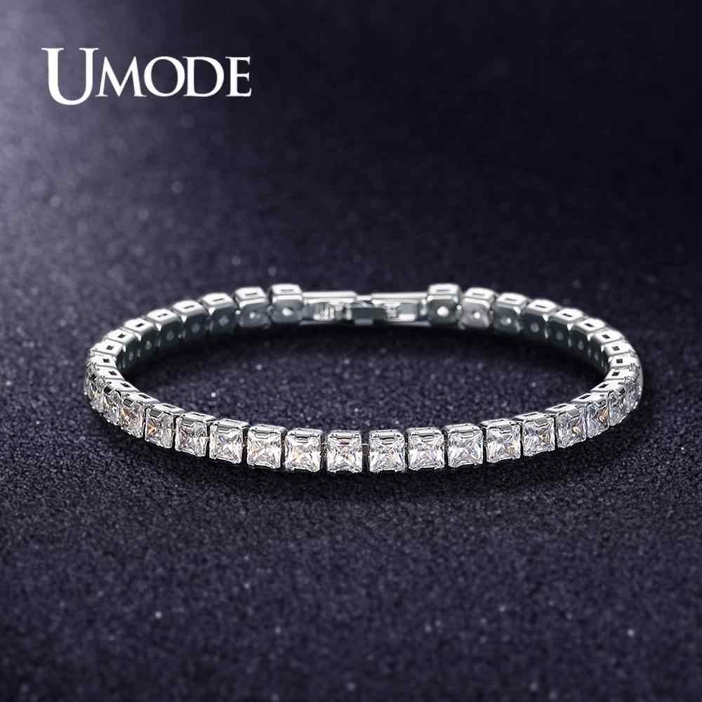 UMODE 2019 nowe okrągłe kryształowe bransoletki tenisowe dla kobiet mężczyzn prostokąt plac cyrkon białe złoto długie pudełko łańcuch biżuteria AUB0178X