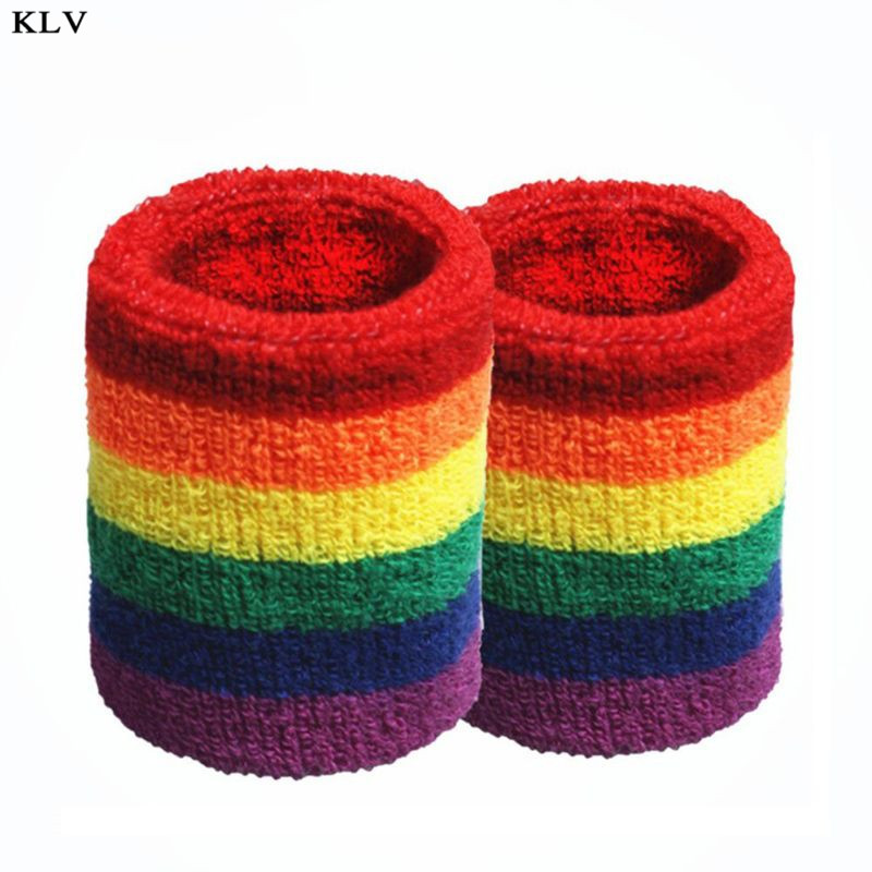 Women Men Sports Towel Sweatband Rainbow Colorful Stripes Breathable Bracers Running Badminton Wrist Support Wrap
