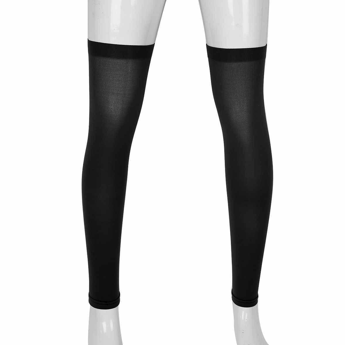 YOOJIA الرجال الحرير عالية رقيقة تنفس فستان البدلة الجوارب كامل الساق كم دعامة الركبة القدم الرياضة الجوارب الطويلة رجل بسط الجورب