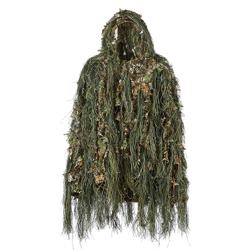 Ghillie Suit Hunting Woodland 3D Bionic Leaf Disguise Uniform Cs Camouflage Suits Set <font><b>Jungle</b></font> Train Hunting Cloth image