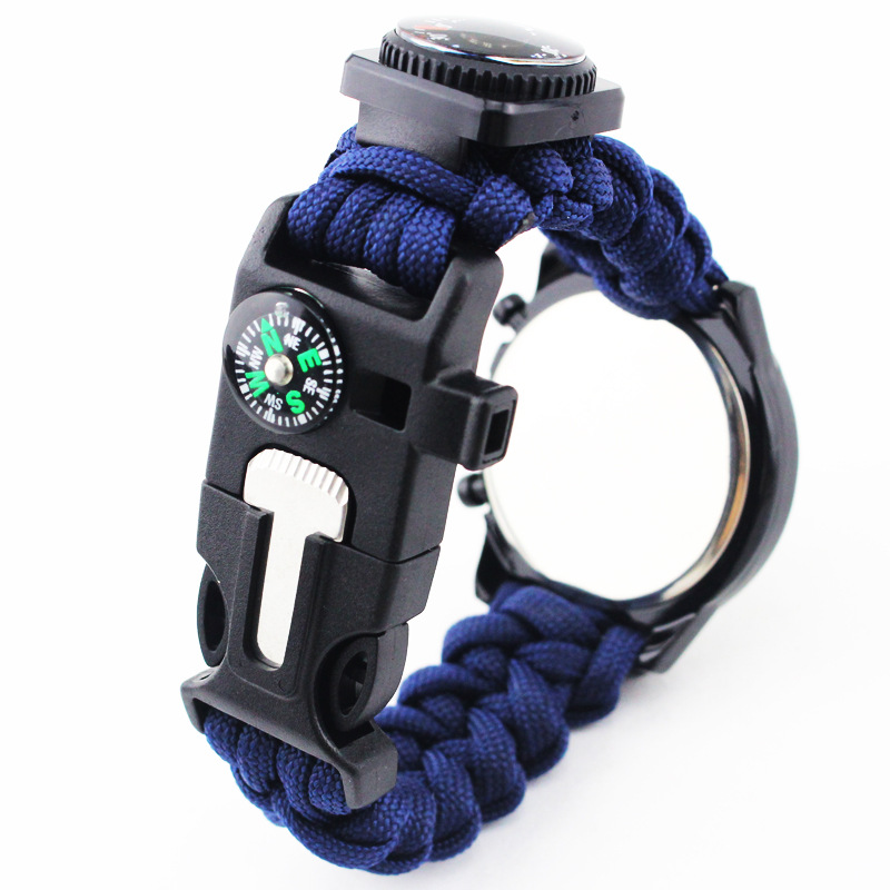 Korean-style Hot Selling Fashion Umbrella Rope Weaving Electronic Watch Outdoor Mountain Climbing Emergency With Firestone Compa