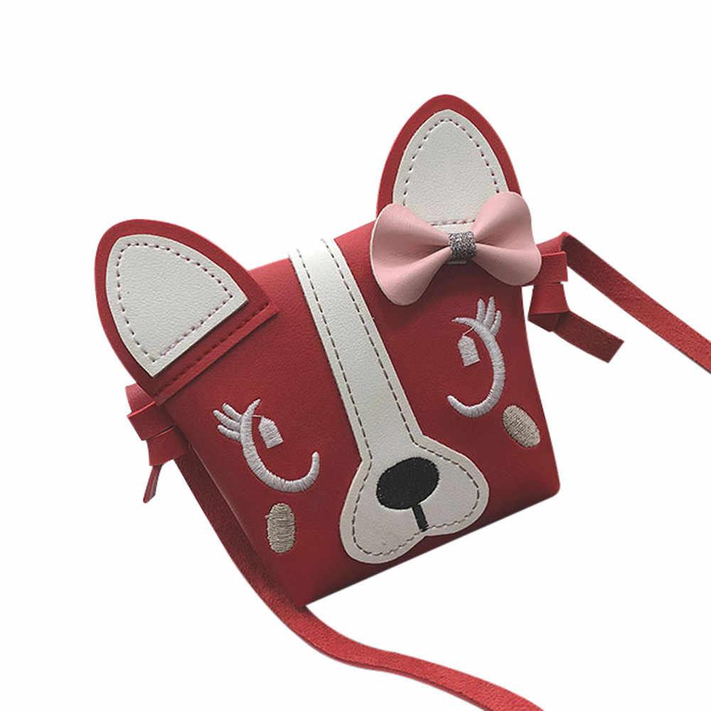 ホットかわいい子供の女の子ミニクロスボディバッグかわいい犬ちょう結びハンドバッグファッション子ショルダーバッグユニークなデザインホット #5