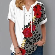 5XL Plus Size Women Clothing Short Sleeve T-Shirts Fashion Flower Print Bandage V-Neck Summer Tee Loose Casual Lady 2020 T-Shirt