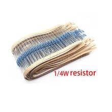 500pcs 1/4W 22 1R ~ 1% M Metal film resistor 100R 220R 1K 1.5K 2.2K 4.7K 47 22 10K K K 100K 100 220 1K5 2K2 4K7 1M ohm resistência