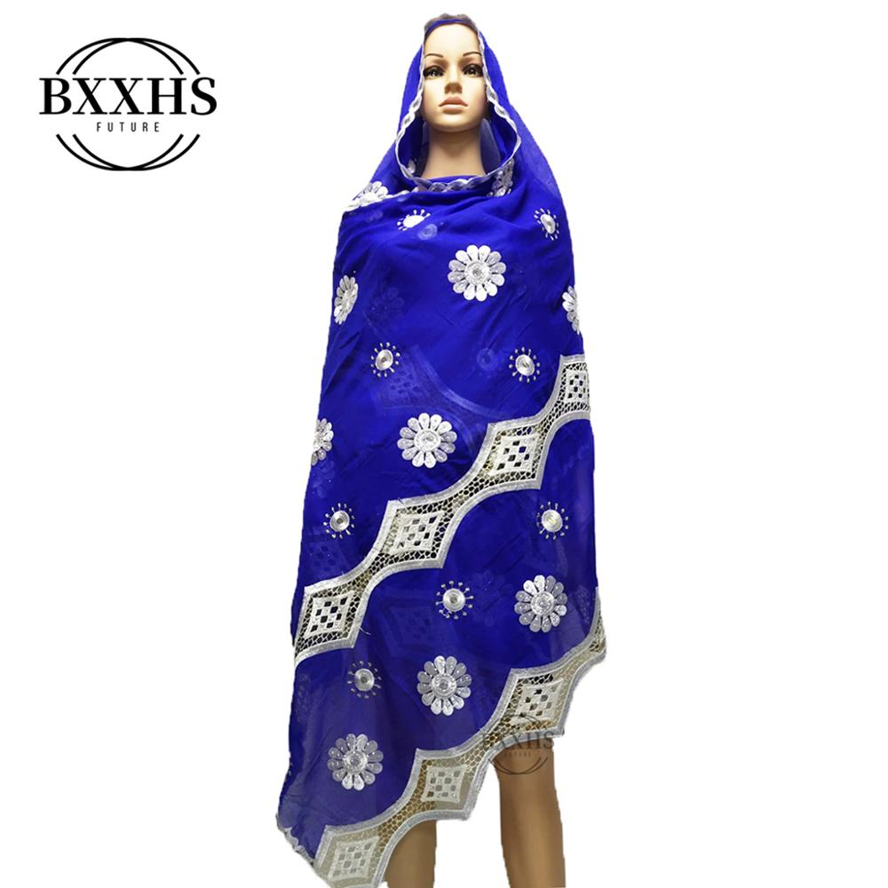 2019 Latest African Women Scarf Muslim Embroidery Scarf Big Scarf For Shawls Wraps 100% Cotton Scarf