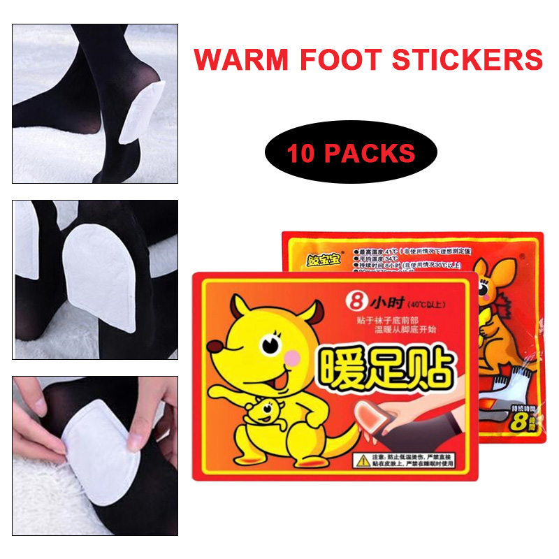 Warm Foot Pad 10pair/Pack Back Lasting Heat Patch Warm Foot Stick Outdoor Activities Body Pads Skin Surface Creative Hand
