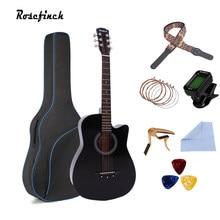 38/41 Polegada guitarra acústica basswood 6 cordas folk guitarra com saco escolher capo tunner de madeira para iniciantes com acessórios de guitarra