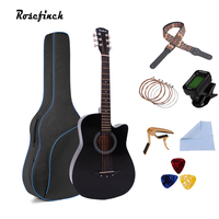 38 inch Acoustic Guitar Basswood 6 Strings Folk Guitar with Bag Pick Capo Tunner Wooden for Beginners with Guitar Accessories