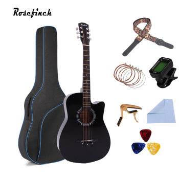 38 inch Acoustic Guitar Basswood 6 Strings Folk Guitar with Bag Pick Capo Tunner Wooden for Beginners with Guitar Accessories acoustic custom guitar 41 inch full size 6 string basswood with guitar kit from us