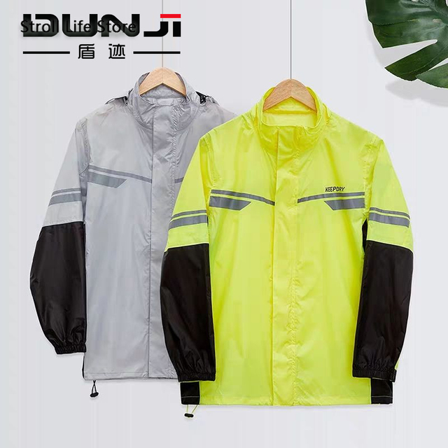 Waterproof Suit Rain Coat Women Men Motorcycle Raincoat Adult Split Reflective Thin Yellow Rain PantsPoncho Impermeable Gift 4