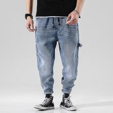 #2645 Biker dżinsy męskie elastyczny pas japoński Streetwear Hip Hop dżinsy ołówek Harem dżinsy damskie luźne na co dzień męskie dżinsy Plus rozmiar tanie tanio yeqedu Kieszenie light Stałe Midweight Pełnej długości Plaid Harem spodnie