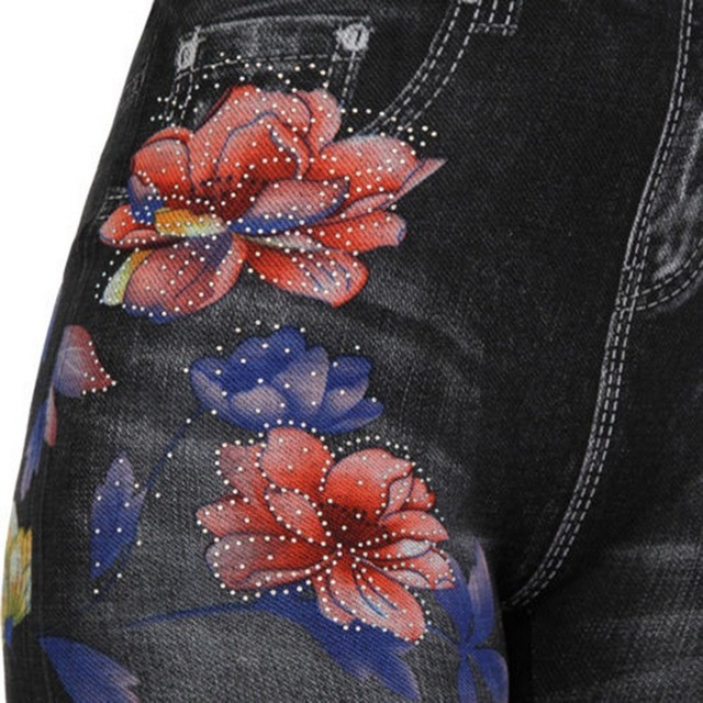 Women's High Waist Stretch and Printed Jeans