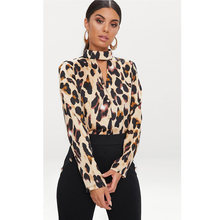 Fashion Women Halter Choker Leopard Blouse Shirts Tops Ladies Casual Long Sleeve Print Plus Size Blouses Shirts Blusas 2XL(China)