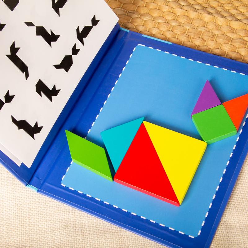 Magnetic Tangram Puzzle Book Portable Preschool Baby Kids Toys Intelligence Jigsaw Puzzle Wooden Educational Toys for Children 6