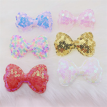 30Pcs/LOT 5.5*3.5CM Sequin Fabric BowKnot Padded Appliques For DIY Handmade Children Hair Clip Accessories Clothes Hat Patches