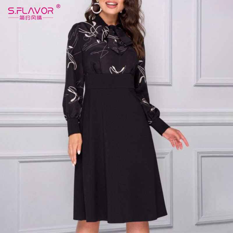S.FLAVOR Women Elegant Print Long Sleeve Dresses Spring Vintage A Line Party Dress 2020 New Arrival Fashion Casual Dress