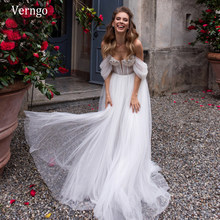 Verngo nowy Sweetheart Off the Shoulder suknia ślubna 2021 odpinane rękawy Ruched Tulle elegancka linia Bride suknia ślubna(China)