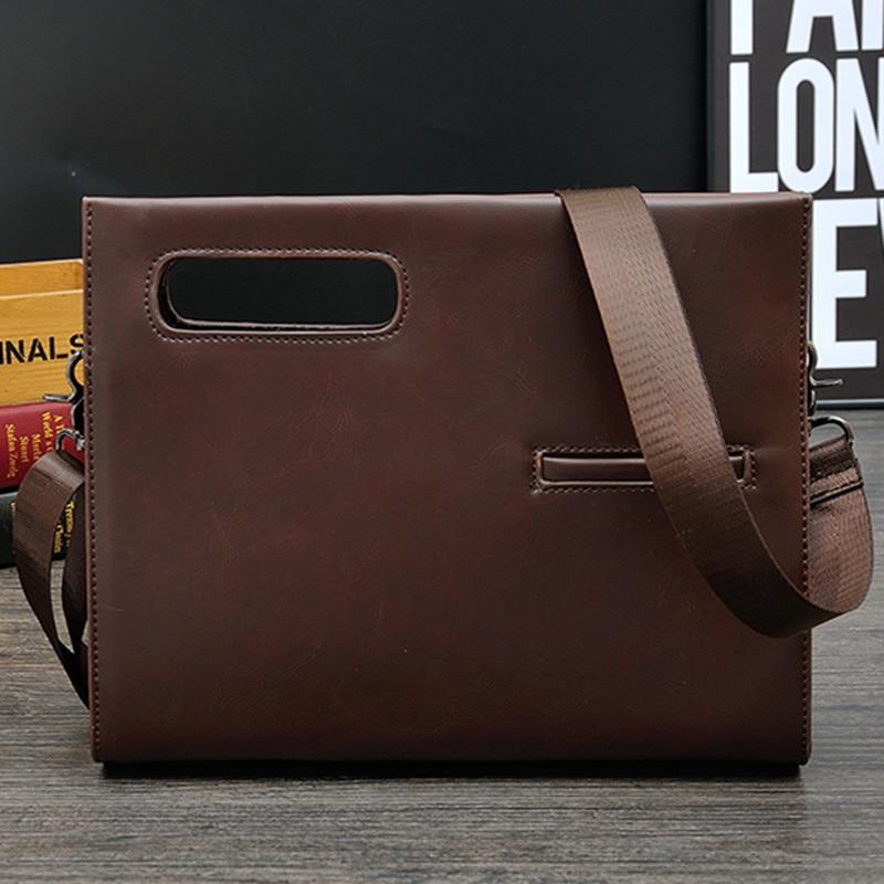 Men's Business Office Small Briefcase Crazy Horse Leather Handbag Man Vintage Hand Messenger Bags Envelope File Shoulder Bags