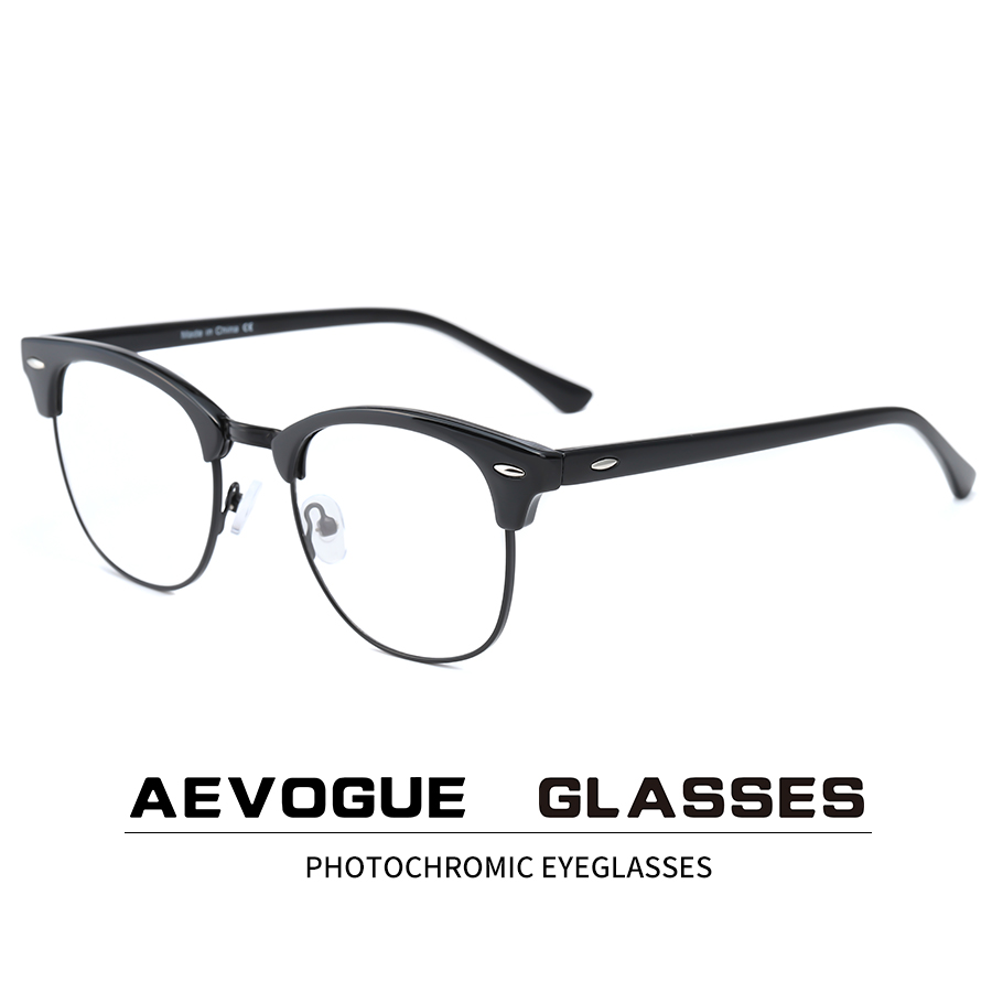 AEVOGUE Photochromic Glasses Prescription Frame Men Optical Eyeglasses Women Eyewear Anti Blue Light Glasses KS101