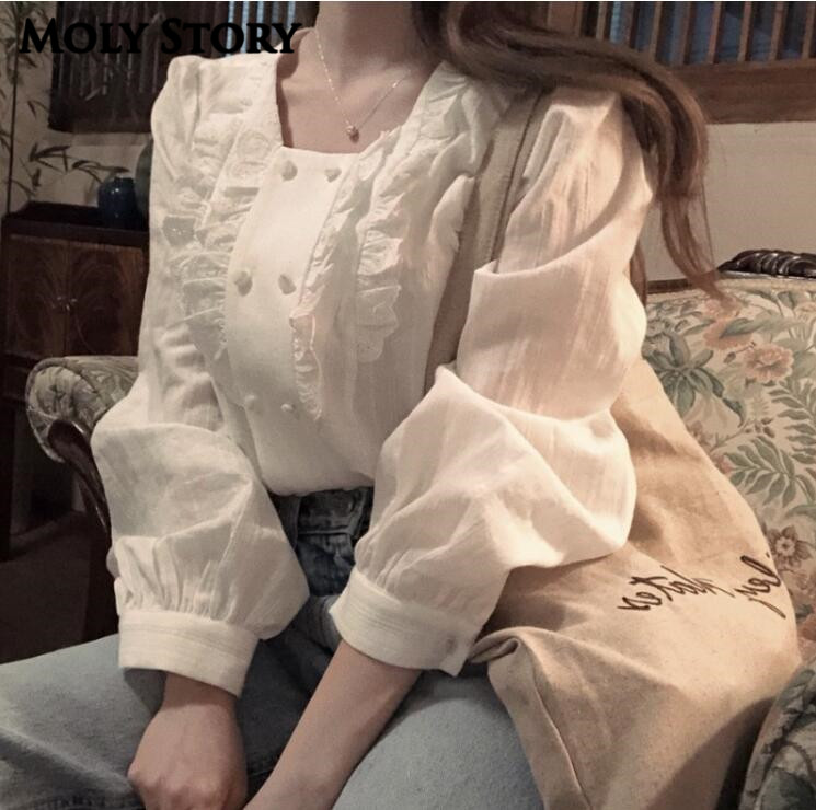New Sweet Square Neck Top Long Sleeve Ruffle Lace Shirts White Tops Ladies Shirt