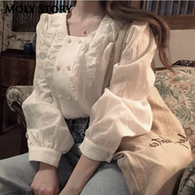 New Sweet Square Neck Top Long Sleeve Ruffle Lace Shirts White Tops Lad