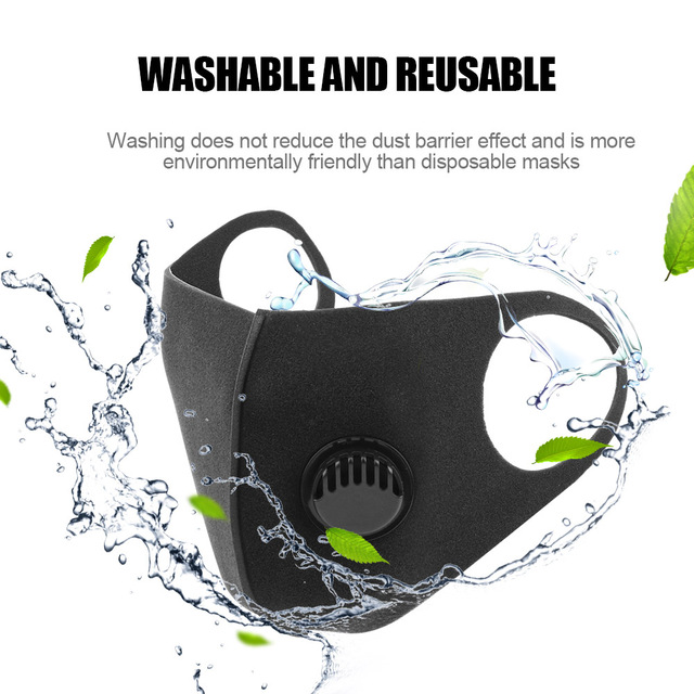 LEEPEE Filter Anti Pollution PM2.5 Mouth Face Mask Washable Reusable for Adult Black Anti Carbon Masks Sponge Mouth Mask 3