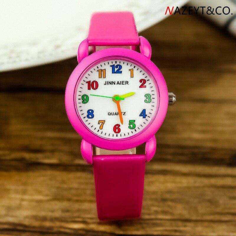 Fashion Cute Children Color Needle Color Word Color Belt Shell Simple Student Quartz Watch