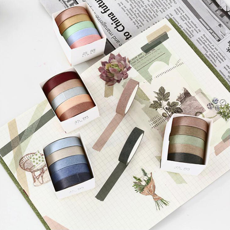 Solid Color Four Season Style Washi Tape Sticky Decorative Masking Paper Tape Set Office Stationery Scrapbook 5PCS