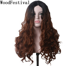 WoodFestival Black Brown Gradient Women Cosplay Wig Long Curly Heat Resistant Synthetic Wigs women s ladylike long side bang curly cosplay wig