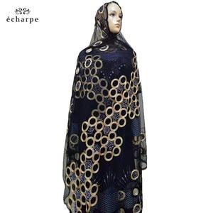 Image 3 - 2020 nowa afrykańska kobiety szaliki muzułmańskie haftowane netto szalik przezroczysty szalik koło Deisgn szalik na szale Pashmina BM802
