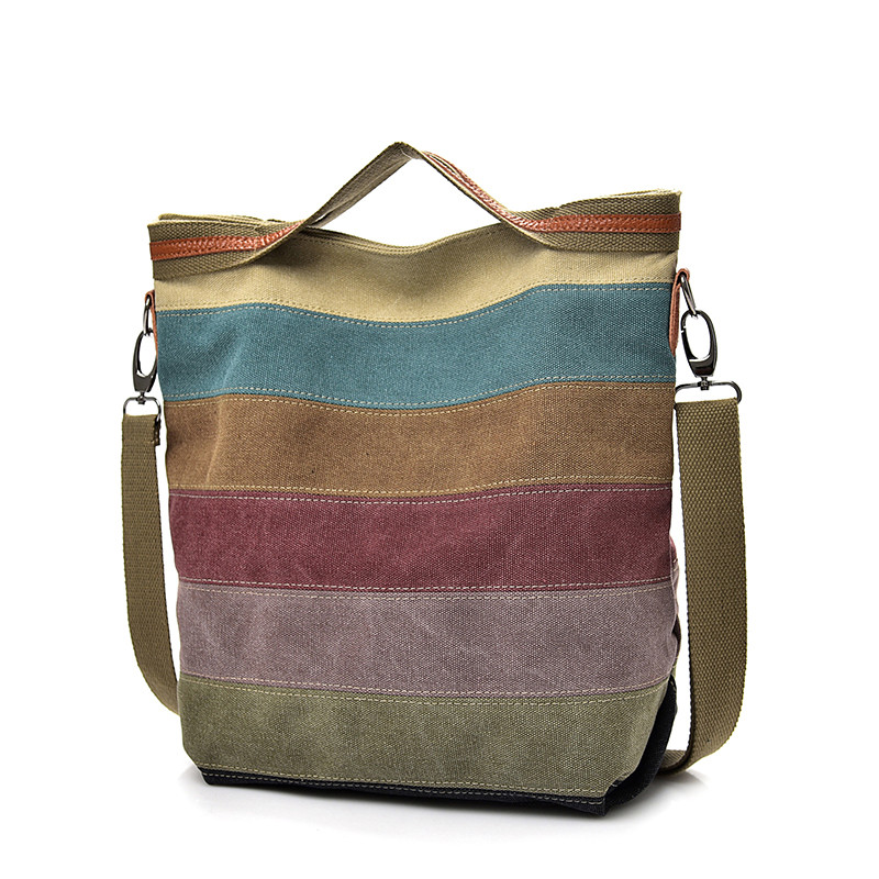 Fashion Canvas Bag Brand Women Handbag Patchwork Casual Women Shoulder Bags Female Messenger Bag Ladies  Rainbow Purse Pouch