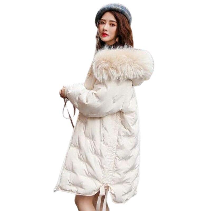 Col de cheveux artificiels broderie doudoune femmes solide Hiver Long Manteau avec nœud Manteau Femme Hiver vêtements grande taille Parker