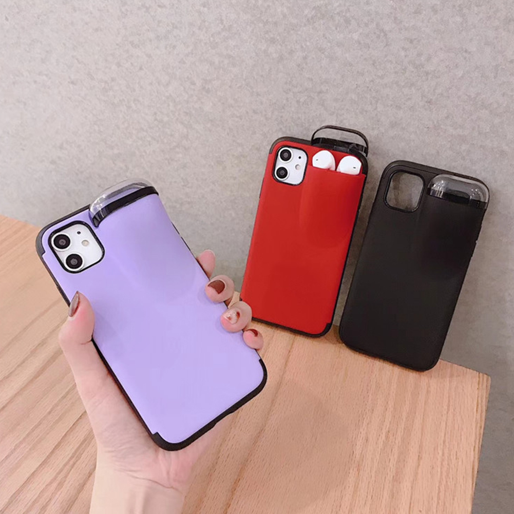 Phone - 2 In 1 Phone Case Earphone Storage Box For iPhone 11 Pro XS MAX XR X 7 8 Plus Airpods 1 2 Pro Soft Silicone Cover Headset Caps