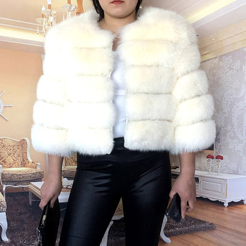 4XL Female Real Fur Coat 100% Natural Fur Jacket 2020 Winter Warm Leather Fox Fur Coat High Quality Fur Vest Plus Size image
