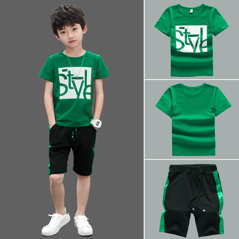 Boys Clothes Set Short Sleeve T-Shirt +Pants Summer Kids Boy Sports Suit Children Clothing Outfits Teen 5 6 7 8 9 10 11 12 Years