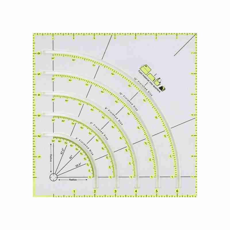 Arcs Fans Quilt Circle Cutter Ruler Acrylic Quilters Ruler With Double Colored Lines For Easy Cutting Sewing Accessory