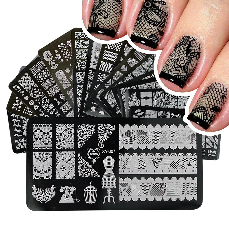 1pcs desenhos de unhas rendas carimbo imagem placas de aço inoxidável molde da arte do prego polonês pintura manicure estêncil ferramentas BEXYJ01-16