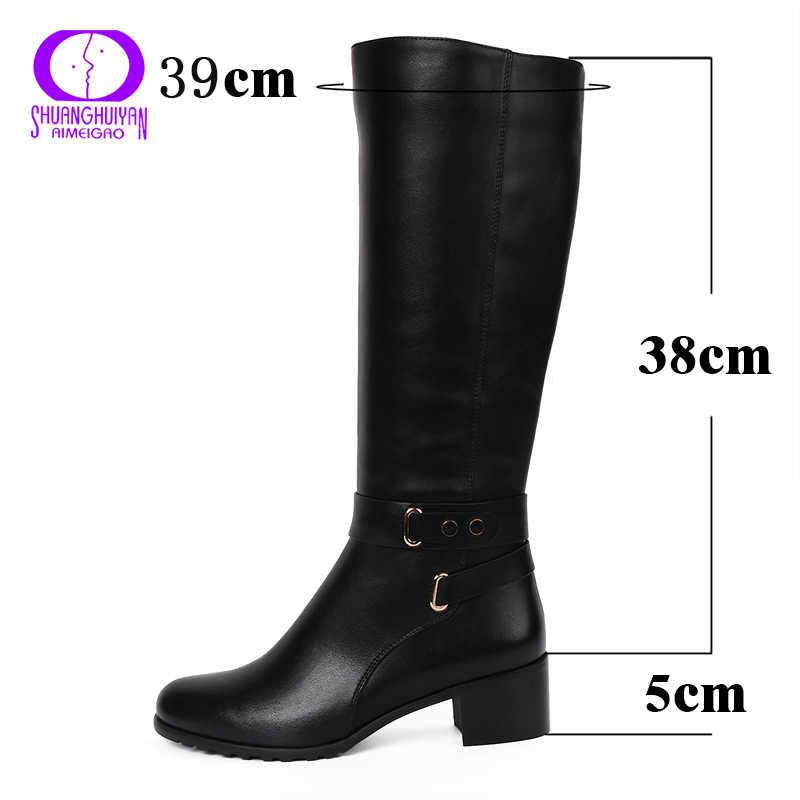 AIMEIGAO kış sıcak deri uzun çizmeler bayanlar yan fermuarlar diz kadın çizmeler yuvarlak ayak platformu çizmeler kadın artı boyutu