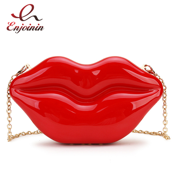 New Style Sexy Red Lips Design Dazzling Women Party Clutch Bag Evening Bag Chain Bag Crossbody Bag Purses and Handbags Pouch ethnic style women s crossbody bag with hollow out and color matching design