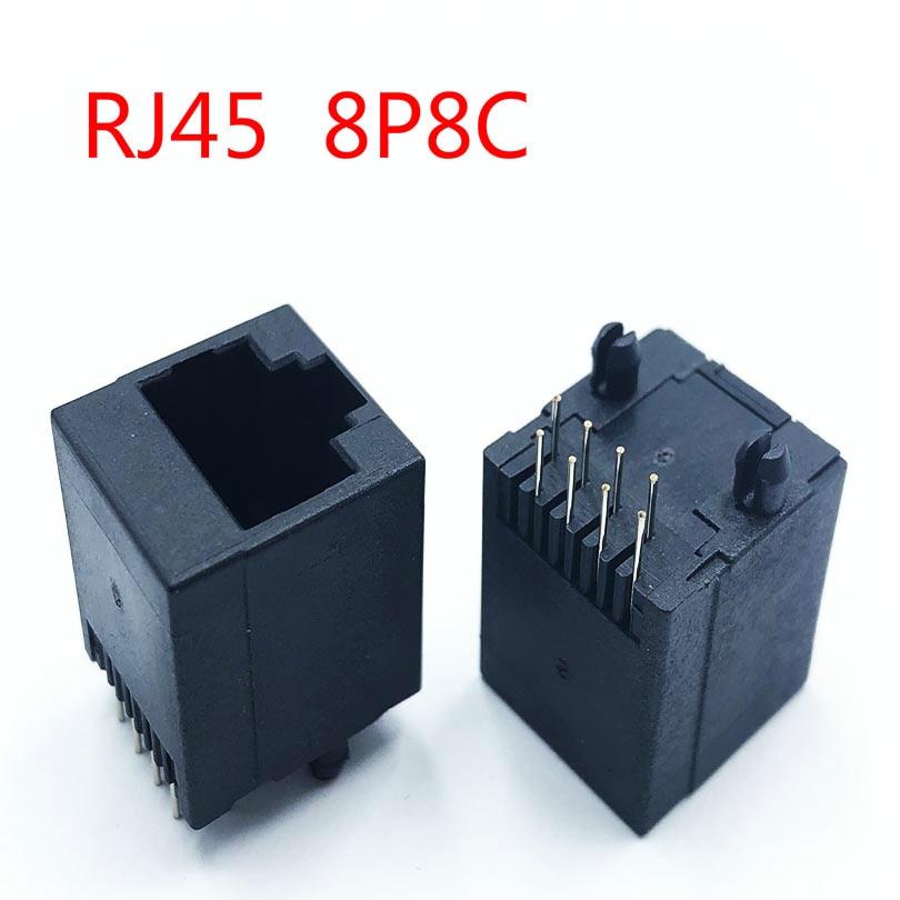 10PCS RJ45 Network Socket Female 5224 8P8C In-line Vertical RJ45 180 Degree Full Plastic