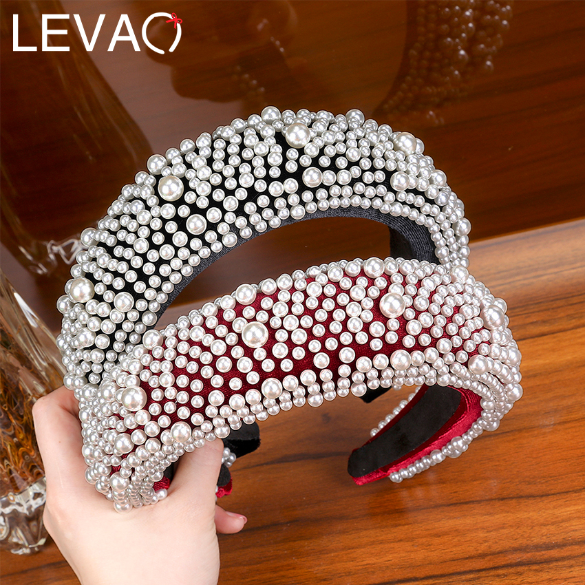 LEVAO Full Pearl Headband Velvet Padded Hairband For Women Autumn Sponge 4.5cm Wide Thick Hair Hoop Girls Bezel Hair Accessories
