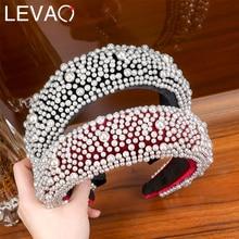 LEVAO Full Pearl Headband Velvet Padded Hairband for Women Autumn Sponge 4.5cm Wide Thick Hair Hoop Girls Bezel Hair Accessories