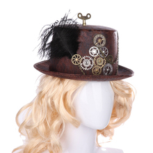 Costume Black Steampunk Hat Halloween Party Decoration Props Men Women Vintage Carnival Cosplay Dome Bowler New