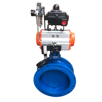 DN100 Pneumatic wind Leakproof Non toxic Flange Butterfly Valve iron Q641X 16Q Switch Type Flow Regulating Valve