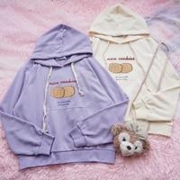 Preppy Style Cartoon Cookies letters Print Mori Girl Women Hoodies Sweatshirts Japanese ulzzang Kawaii Long Sleeve Hooded Tops