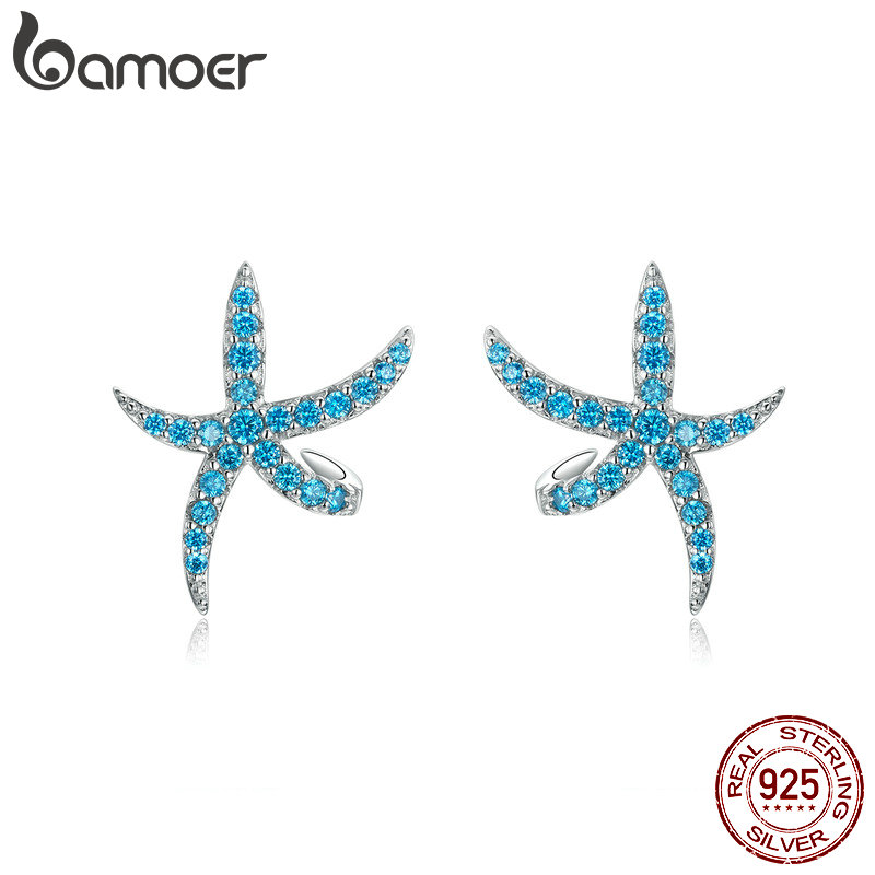 Bamoer Starfish Stud Earrings For Women Genuine 925 Sterling Silver Fashion Blue Earings Studs Korean Design Jewelry BSE136