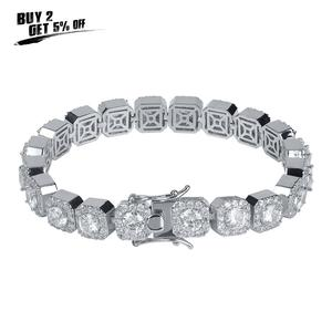 Image 2 - JINAO 1 Row Gold Silver color AAA 10mm Cubic Zirconia Paved All Iced Out Tennis Bling Lab CZ Stones Bracelet