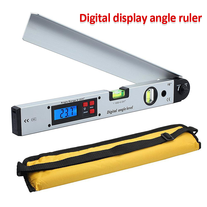 16 inch Digital Electronic Protractor Angle Finder Level Measuring Gauge Meter Inclinometer Ruler 0-225 Degree 400MM With Bag