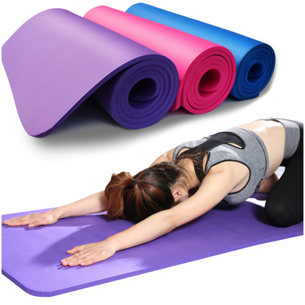 10mm NBR Yoga Mat With Free Carry Rope 183*61cm Non-slip Thick Pad Fitness Pilates Mat For Outdoor Gym Exercise Fitness XA137A