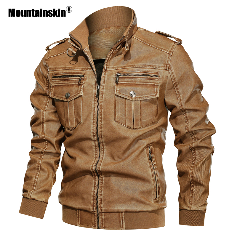 Mountainskin New Leather Jacket Men Winter Autumn Men's Motorcycle Jacket Windproof Outwear Male Brand Clothing L~6XL SA789